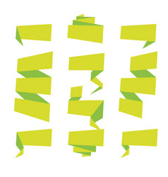 folded ribbon banner set collection green vector image