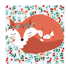 fox mom and baby in pretty cherry berry forest vector image