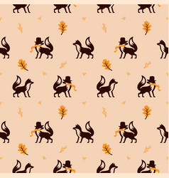 fox seamless pattern using scarf and autumn leaf vector image