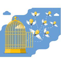 Fresh bulb idea flying from bird cage vector
