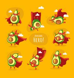 Funny cartoon character avocado super hero vector