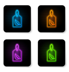 glowing neon tag with leaf symbol icon isolated vector image
