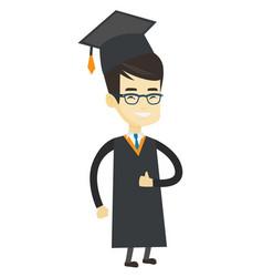 Graduate giving thumb up vector