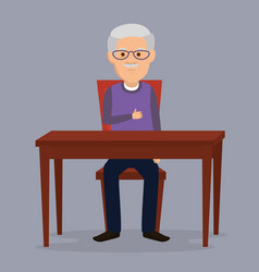 Grandfather in the dinning room vector