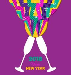 Happy new year 2018 retro color party toast splash vector