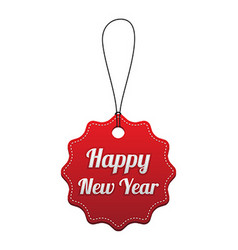 Happy New Year Red stitched tag vector image