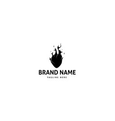 heart fire abstract black logo design vector image