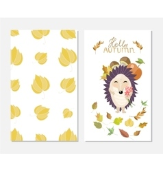Hello autumn Stylish inspiration card in cute vector image