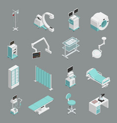 hospital equipment isometric icons set vector image