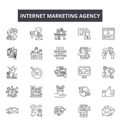 Internet marketing agency line icons signs vector