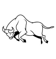 Jumping Bull Line Art vector image