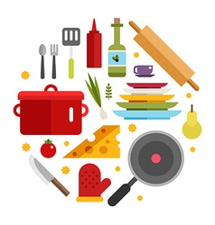 Kitchen appliances and objects in the shape of vector