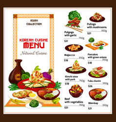Korean spicy restaurant food dishes vector
