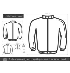 leather jacket line icon vector image