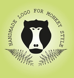 Logotype with head monkey and leaves fern vector