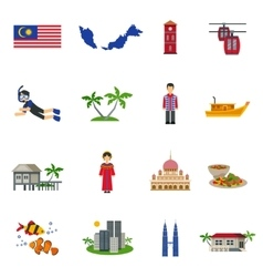Malaysian Culture Symbols Flat Icons Set vector image