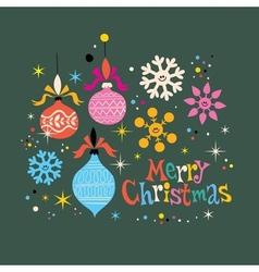 Merry Christmas retro greeting card vector