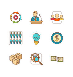 minimal lineart flat business icon set vector image