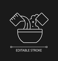 Mixing cooking ingredient white linear icon vector