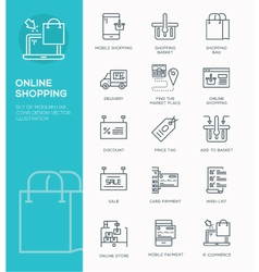 Modern line icon design concept of online shopping vector
