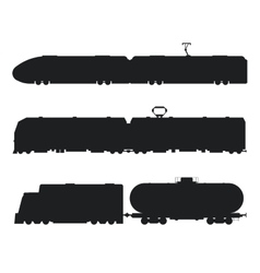 Modern vintage trains black and white vector image