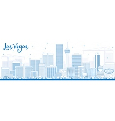 Outline Las Vegas Skyline with Blue Buildings vector