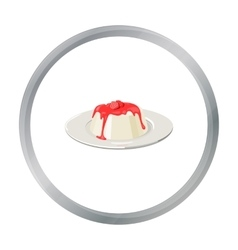 Panna cotta icon in cartoon style isolated on vector image