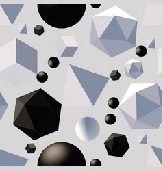Pattern with 3d shapes vector