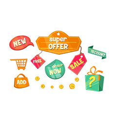 promotional badges and sale tags set super offer vector image
