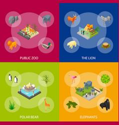 Public zoo set concept 3d isometric view vector