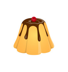 Pudding custard dessert with chocolate topping vector