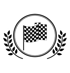 racing flag award in monochrome with olive branch vector image