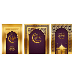 Ramadan background golden arches vector