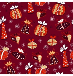 Red retro seamless gift pattern vector image