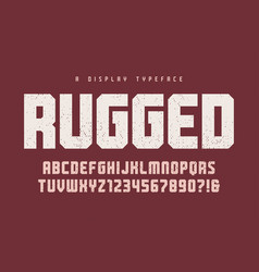 Rugged heavy display typeface font vector
