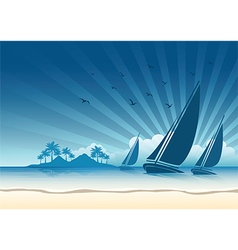 Sail boat background vector