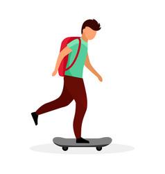 Schoolboy skateboarding flat skateboarder skater vector