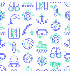 sea and ocean journey seamless pattern vector image
