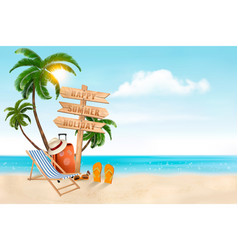 seaside vacation travel items on the beach vector image vector image