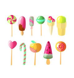 set of bright candies ice creams set of vector image