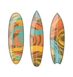 set of decorated colorful surfboards vector image