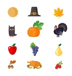 Set of Thanksgiving icons in flat style vector