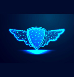 Shield and wings abstract low poly wire frame vector
