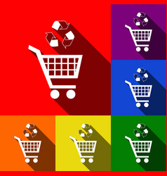 shopping cart icon with a recycle sign set vector image
