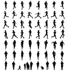 silhouettes runners vector image