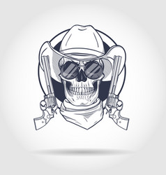 sketch skull with cowboy vector image