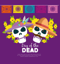 skulls with hat and flowers to day of the dead vector image