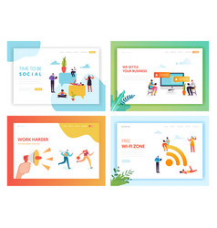 social media networking concept landing page vector image