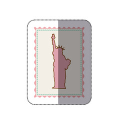 Sticker frame with silhouette of statue of liberty vector