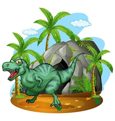 T-rex living in cave vector